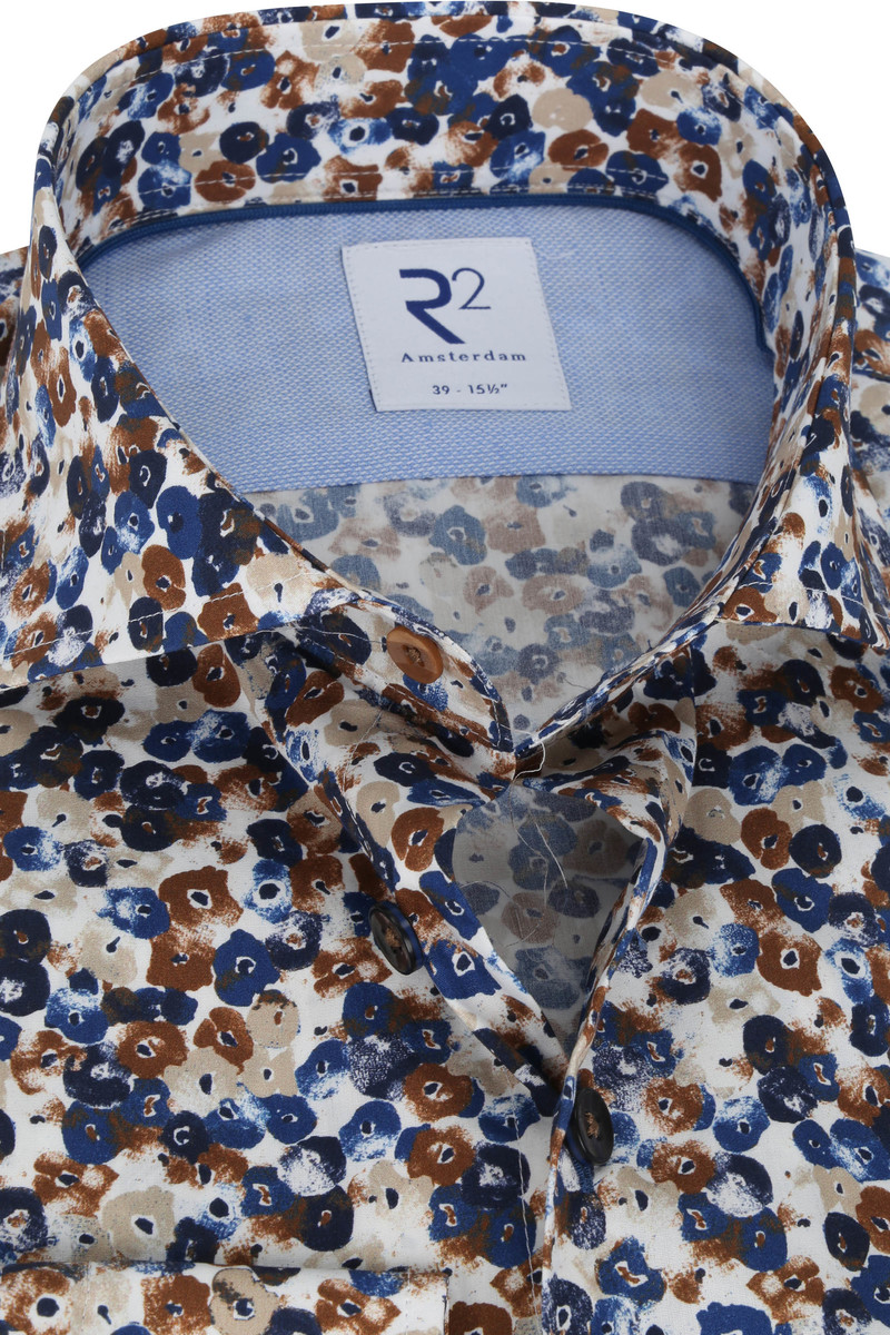 R2 Overhemd Print Bruin Blauw
