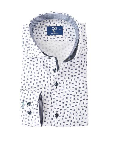 R2 Overhemd Wit + Donkerblauw Bloem  online bestellen | Suitable