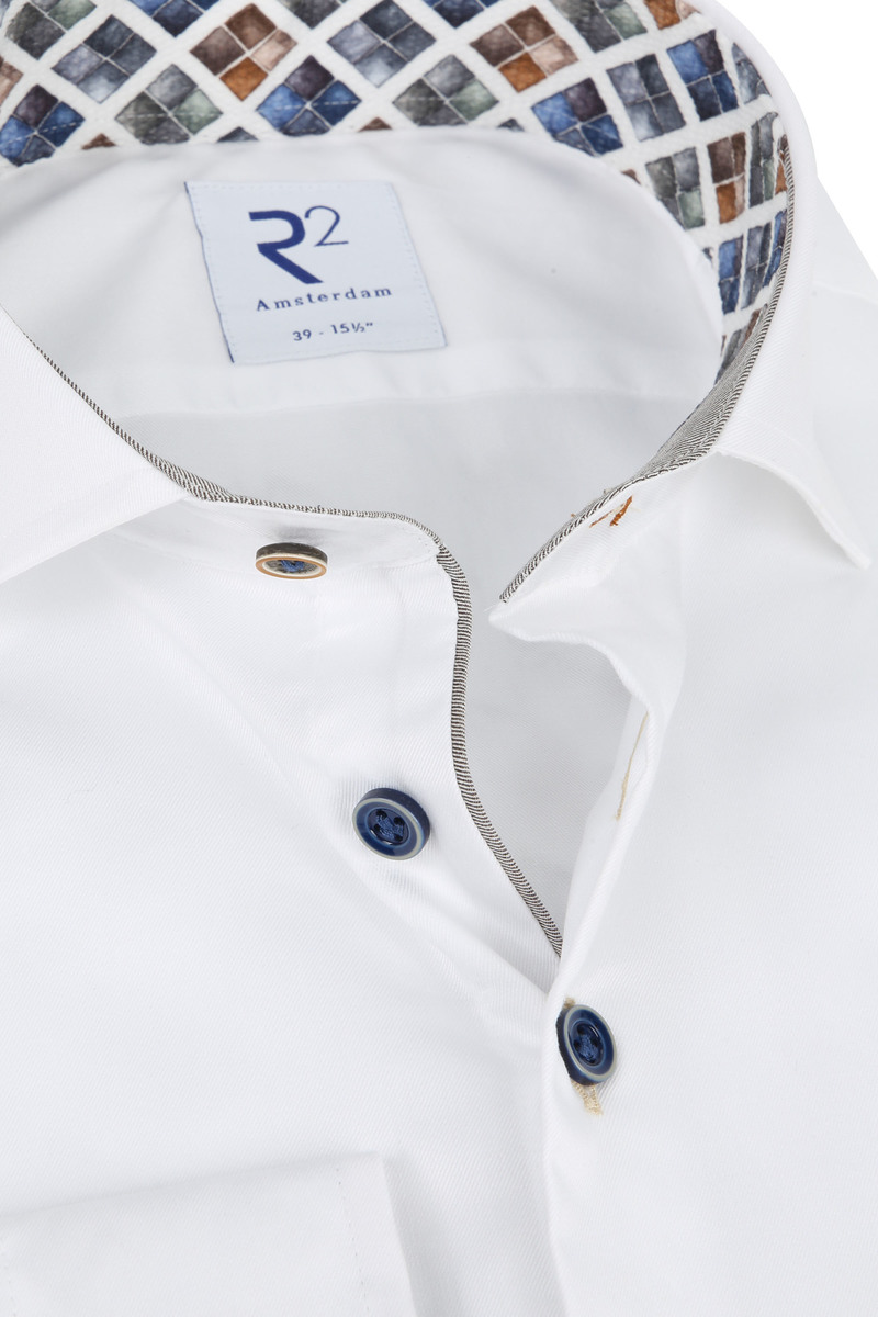 R2 Overhemd Wit Ruit - Multicolour maat 46