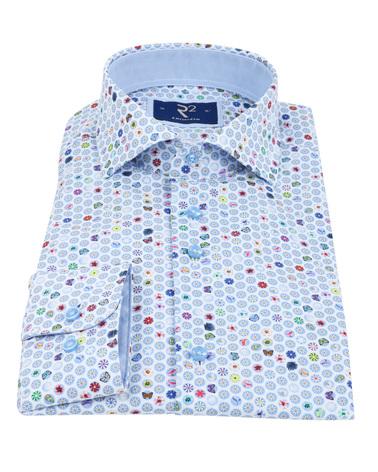 Detail R2 Overhemd Zomers Blauw