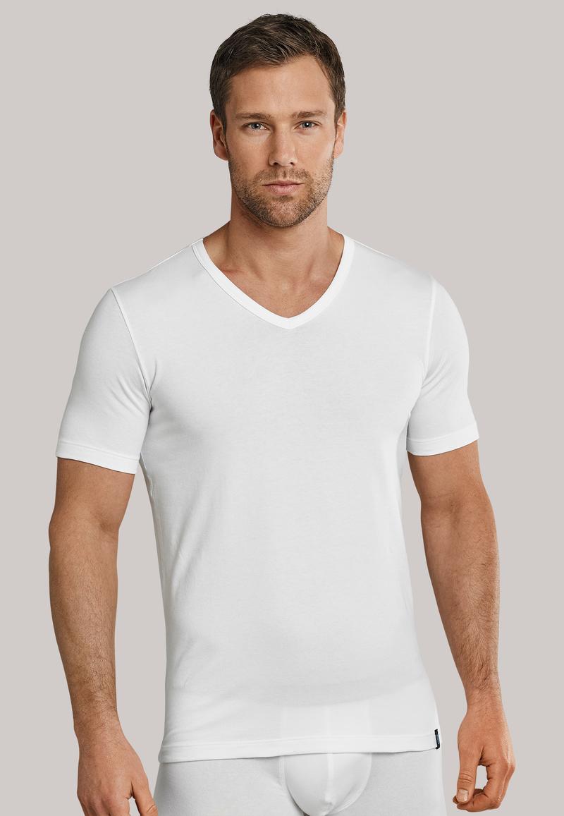 Schiesser T-shirt V-hals Weiß (2Pack)