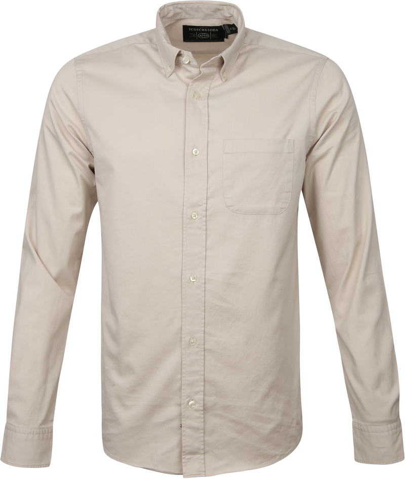 Scotch and Soda Overhemd Beige Solid - Beige maat M