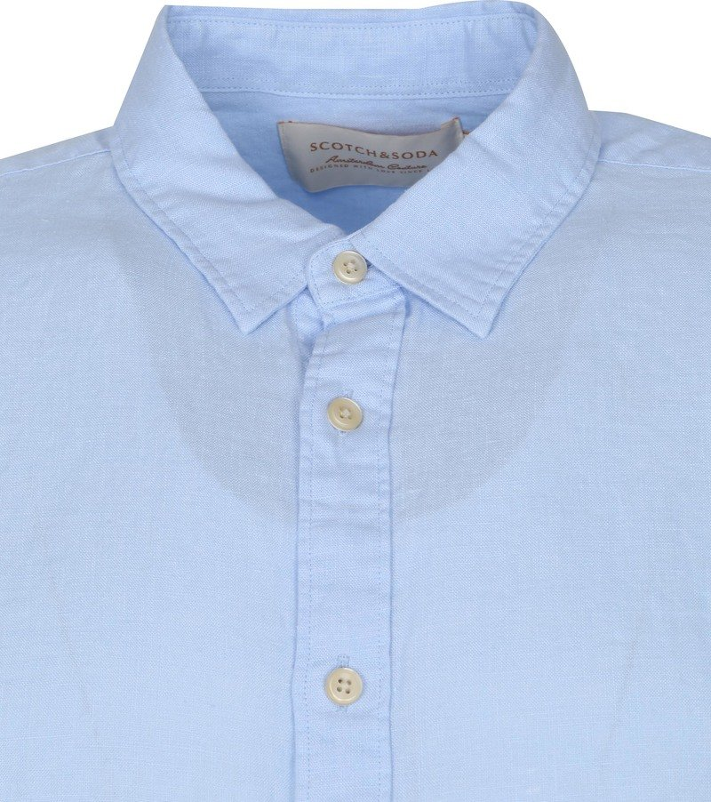 Scotch and Soda Overhemd Linnen Garment Dyed Blauw