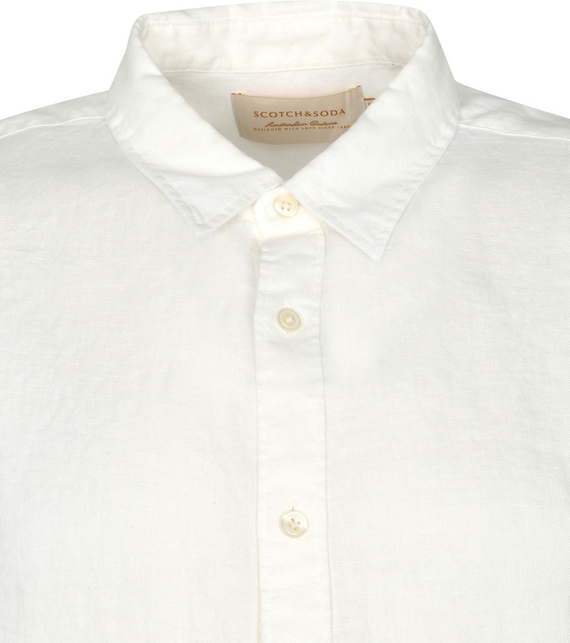 Scotch and Soda Overhemd Linnen Garment Dyed Wit