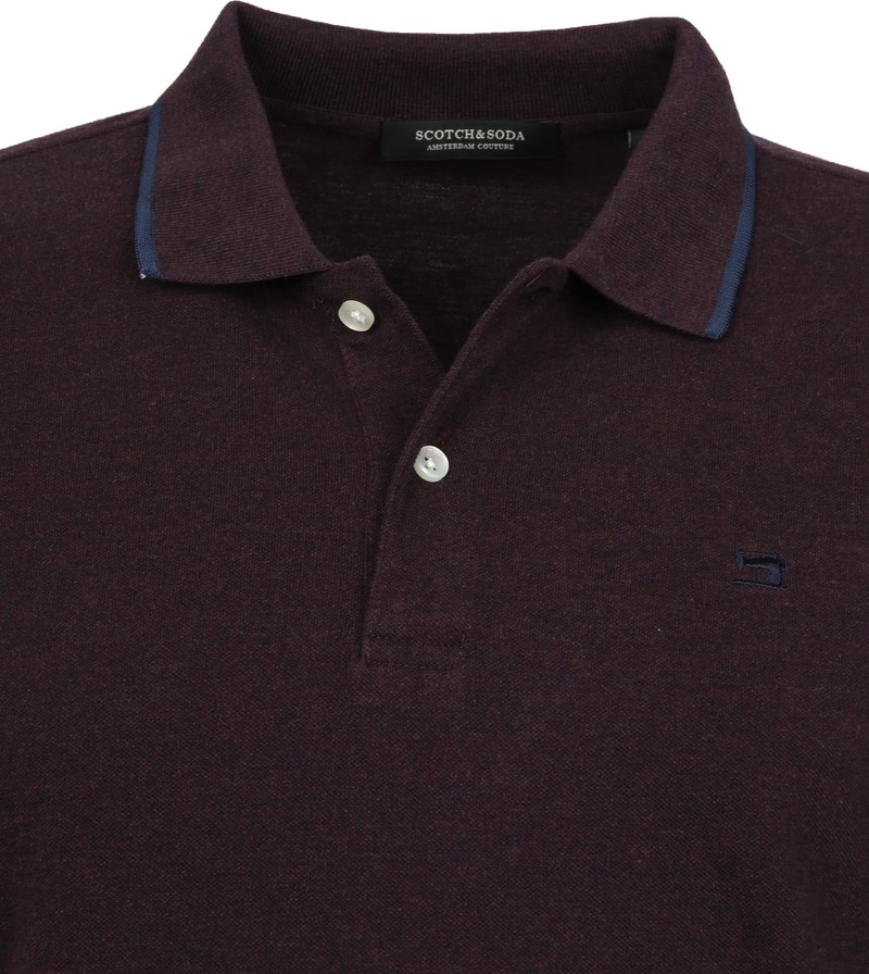 Scotch and Soda Polo Melange Bordeaux foto 1