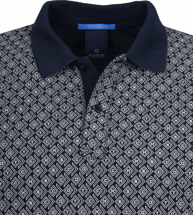 Scotch and Soda Polo Print Navy foto 1