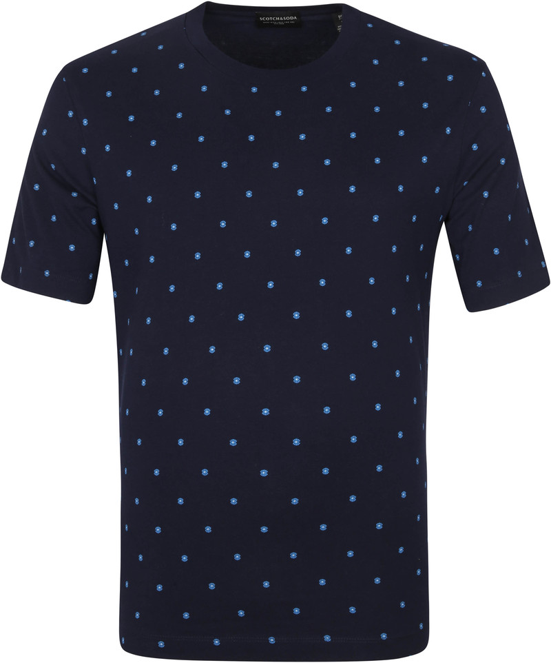 Scotch & Soda T-Shirt All-Over Patroon Navy