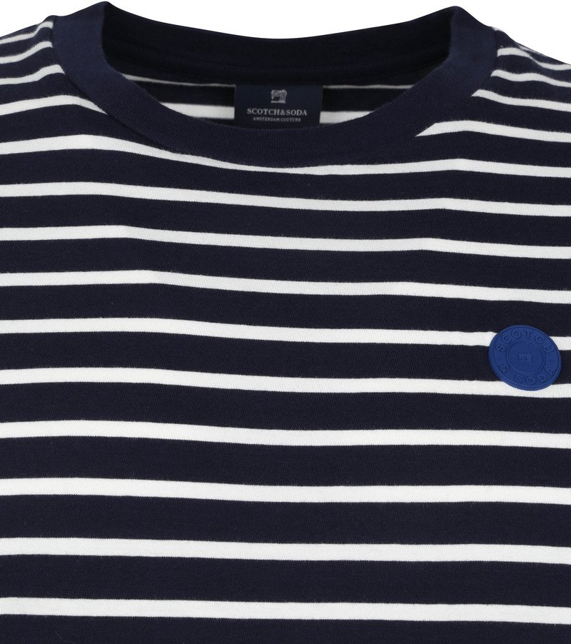 Scotch & Soda T-Shirt Strepen Donkerblauw