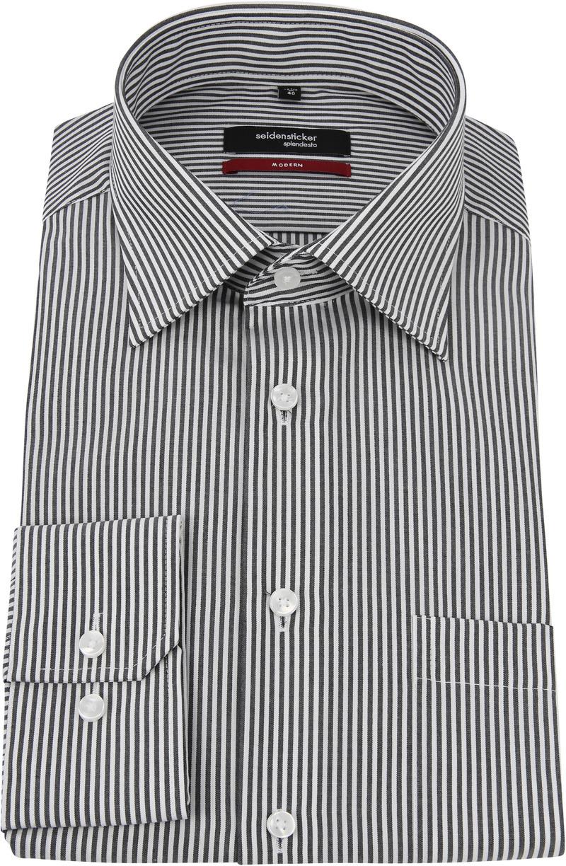Seidensticker Hemd Bügelfrei Modern Schwarz Weiß Streifen