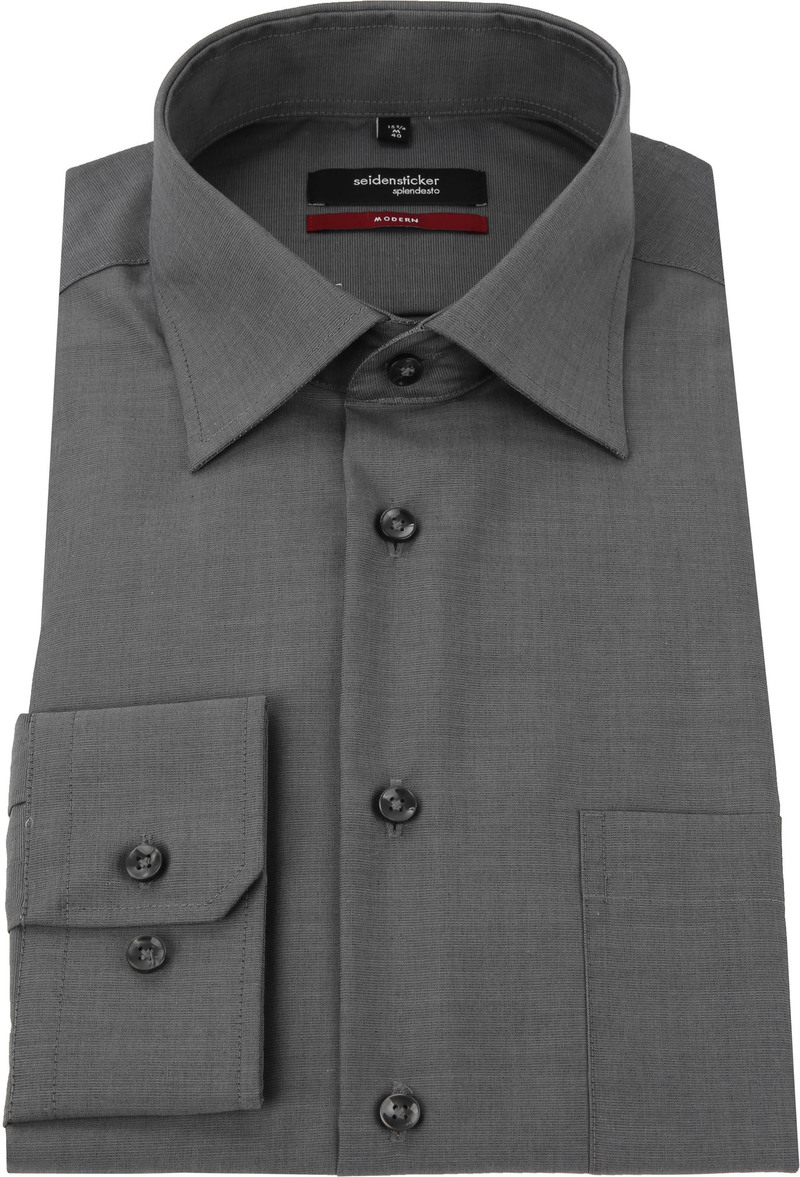 Seidensticker Overhemd Comfort Fit Antraciet foto 2
