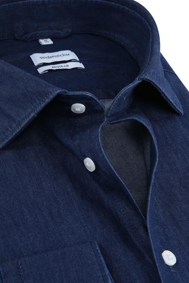 Seidensticker Overhemd Denim Navy foto 1