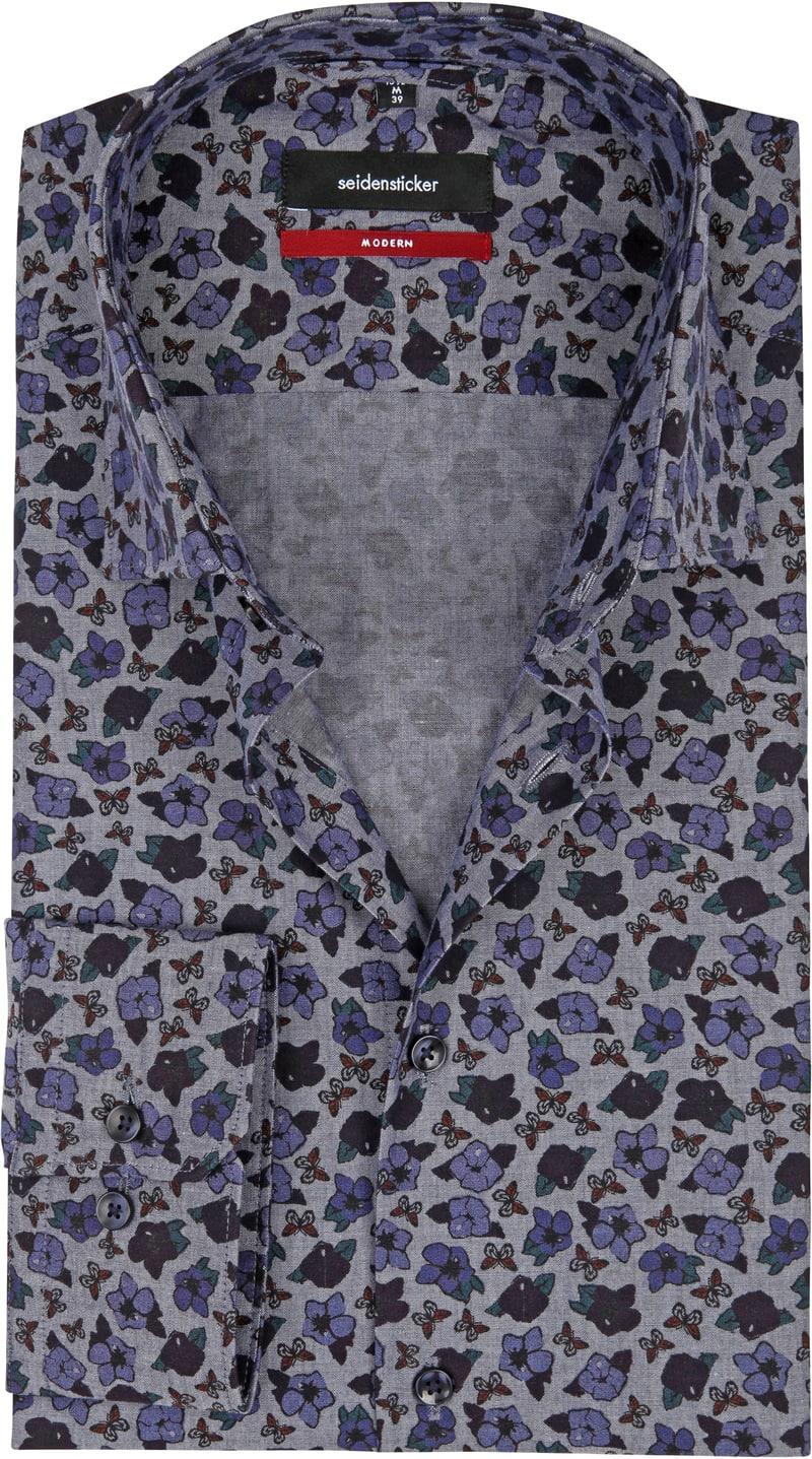 Seidensticker Overhemd MF Bloem Blauw foto 0