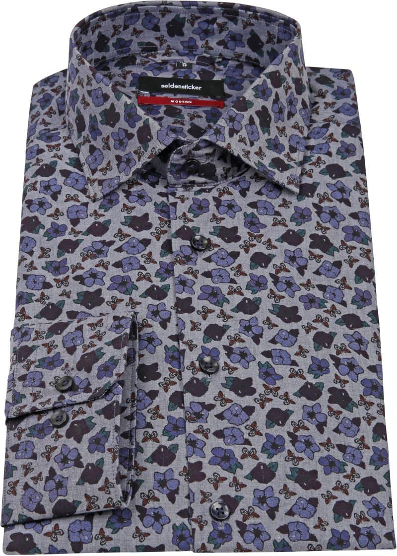 Seidensticker Overhemd MF Bloem Blauw foto 3