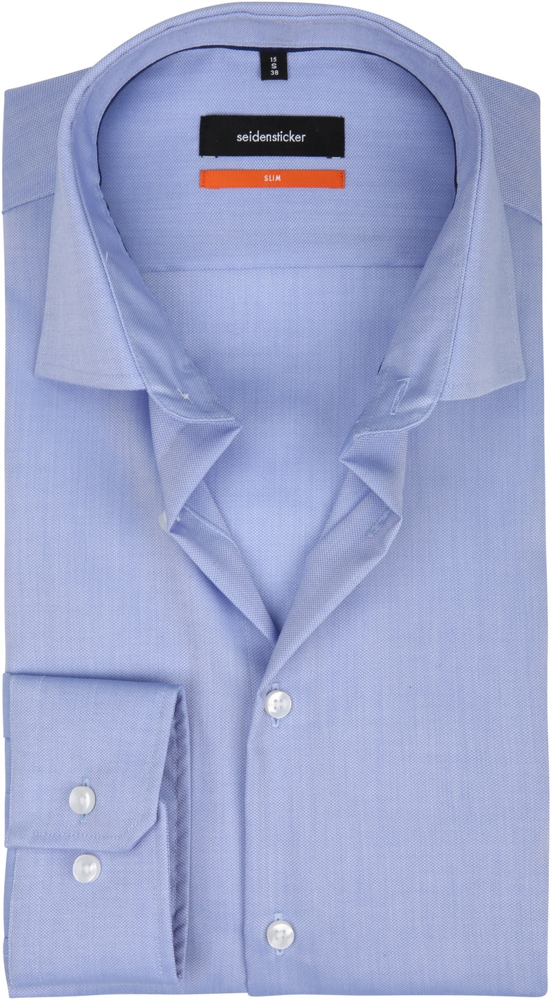 Seidensticker Overhemd SF Dessin Blauw - Blauw maat 36