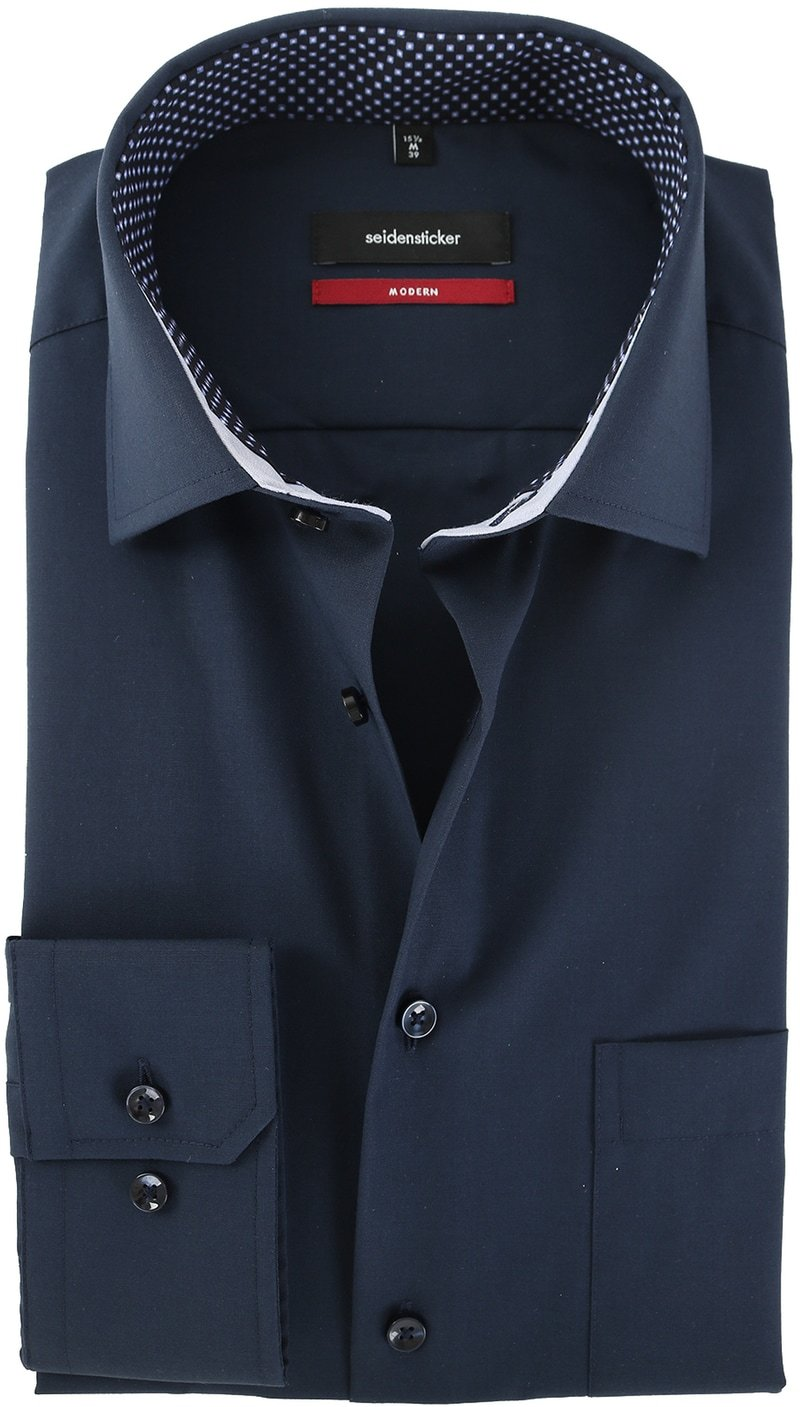 Seidensticker Strijkvrij Overhemd Donkerblauw  online bestellen | Suitable