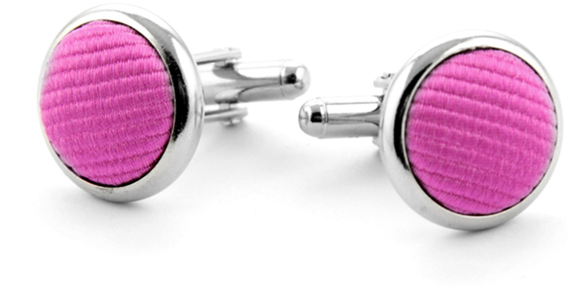 Silk Cufflinks Fuchsia F21 photo 0