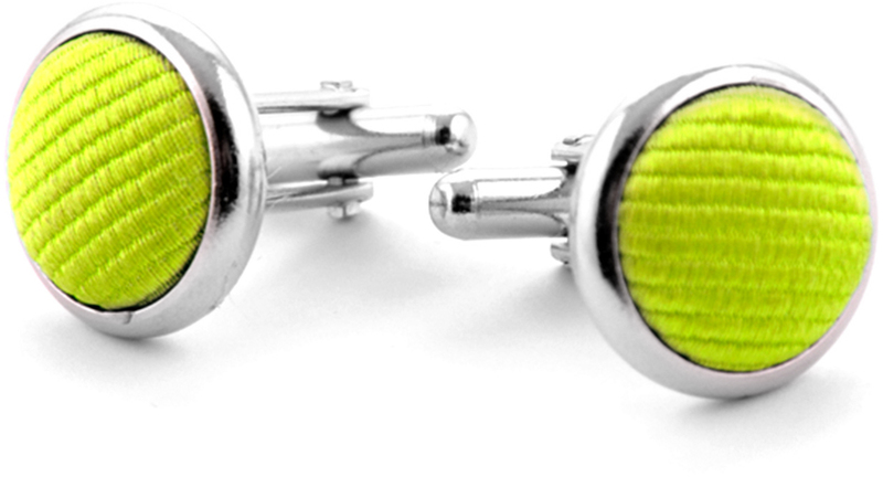 Silk Cufflinks Lime Green F04 photo 0