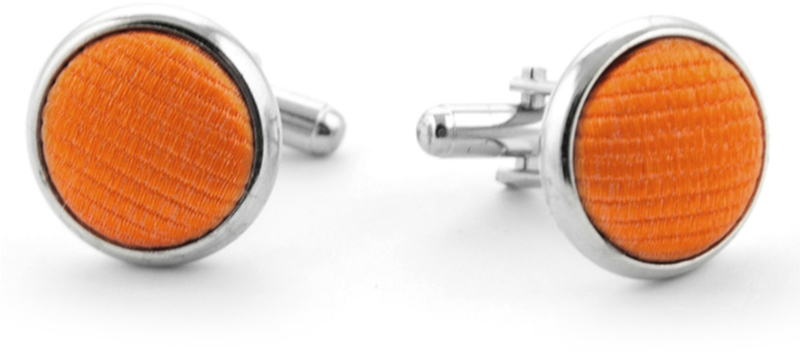 Silk Cufflinks Orange F01 photo 0