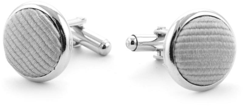 Silk Cufflinks Silver F48