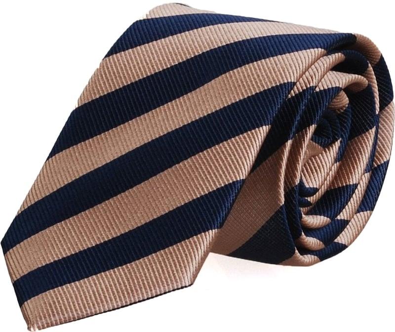 Silk Tie Khaki + Navy Striped FD15
