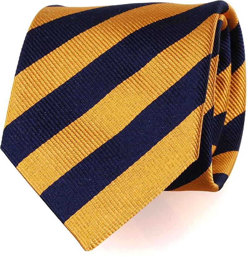 Silk Tie Lime Gold + Navy Striped FD17 photo 0