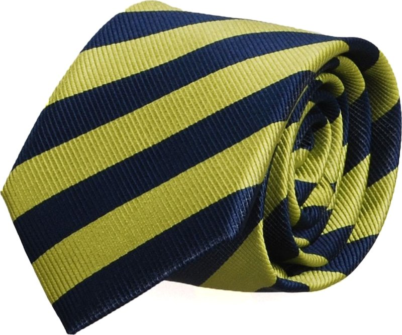 Silk Tie Lime Green + Navy Striped FD03