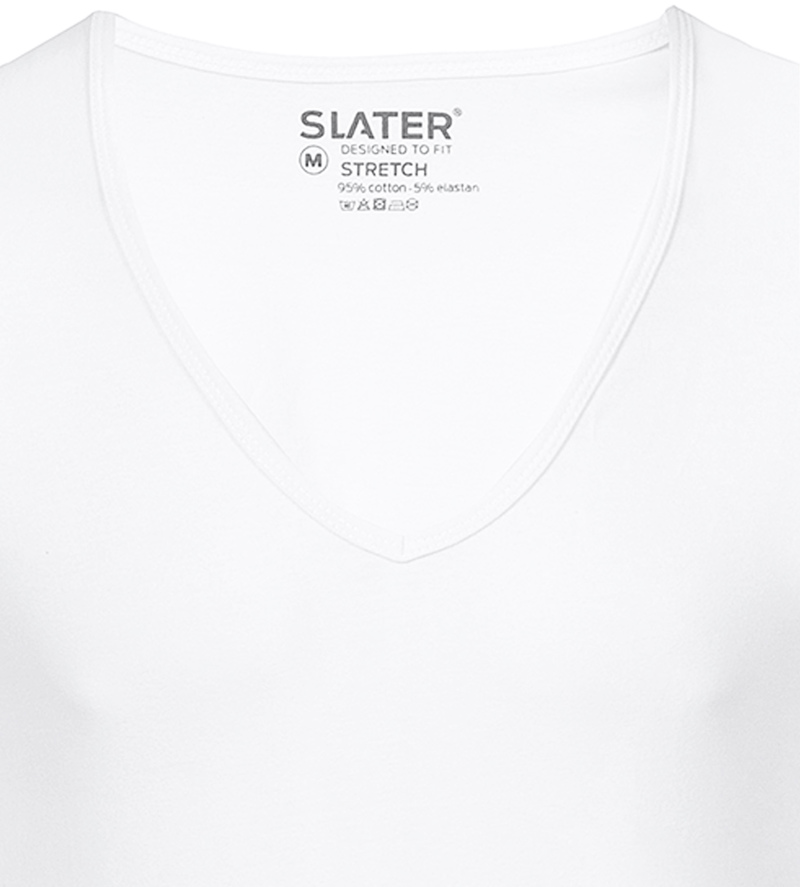 Slater 2-pack Stretch Deep V-neck T-shirt White photo 1