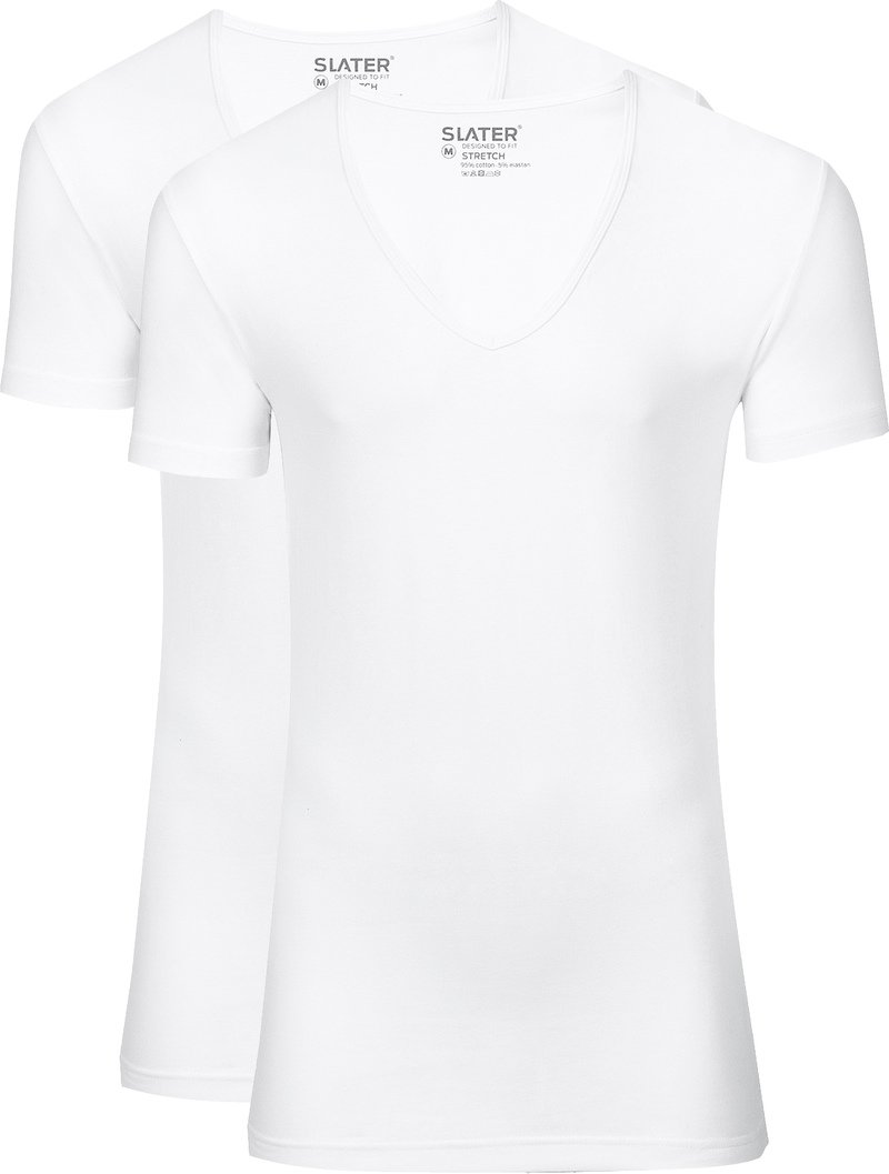 Slater 2-pack Stretch Deep V-neck T-shirt White photo 0