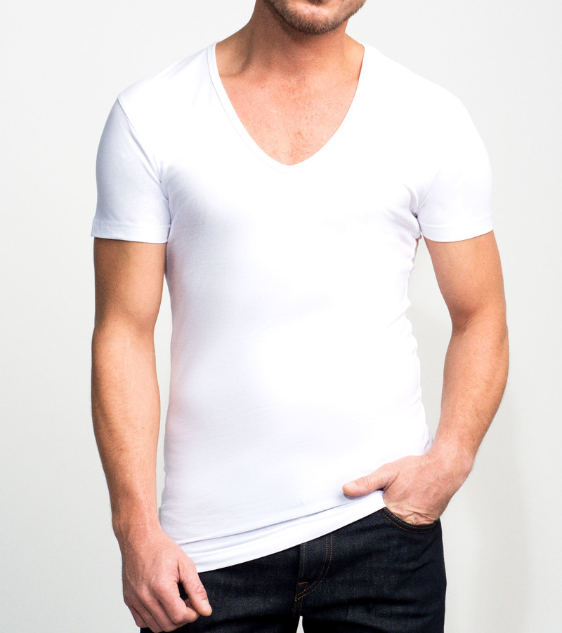 Slater 2-pack Stretch Deep V-neck T-shirt White photo 2