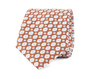 Stropdas Zijde Bloem Oranje 9-17  online bestellen | Suitable