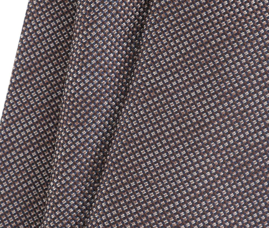 Detail Stropdas Zijde Pinpoint Bruin 9-17
