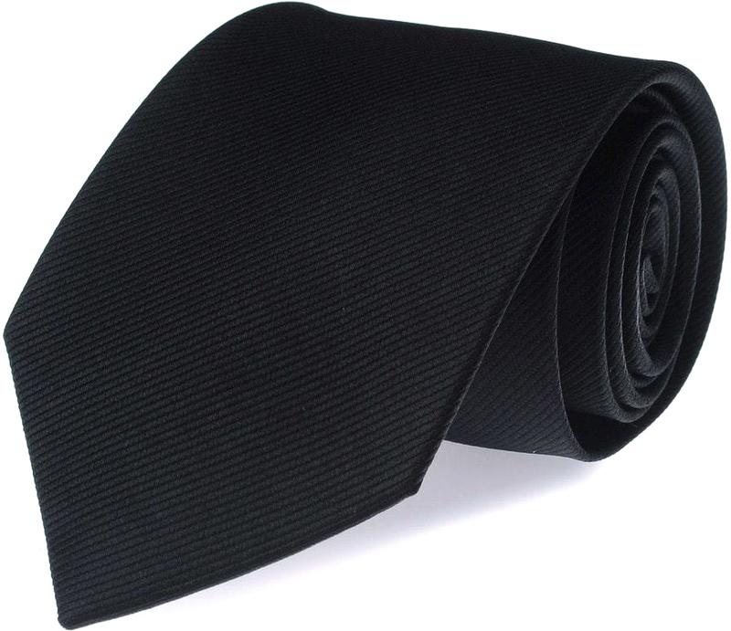 Stropdas Zijde Zwart Uni F08 foto 0