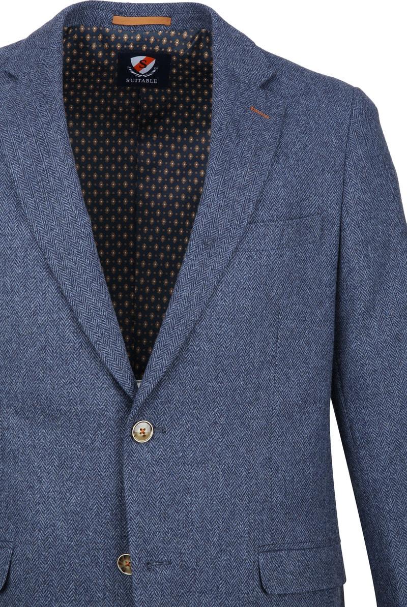 Suitable Blazer Nibe Blauw Herringbone