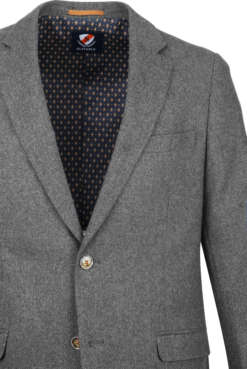 Suitable Blazer Nibe Grijs Herringbone foto 1