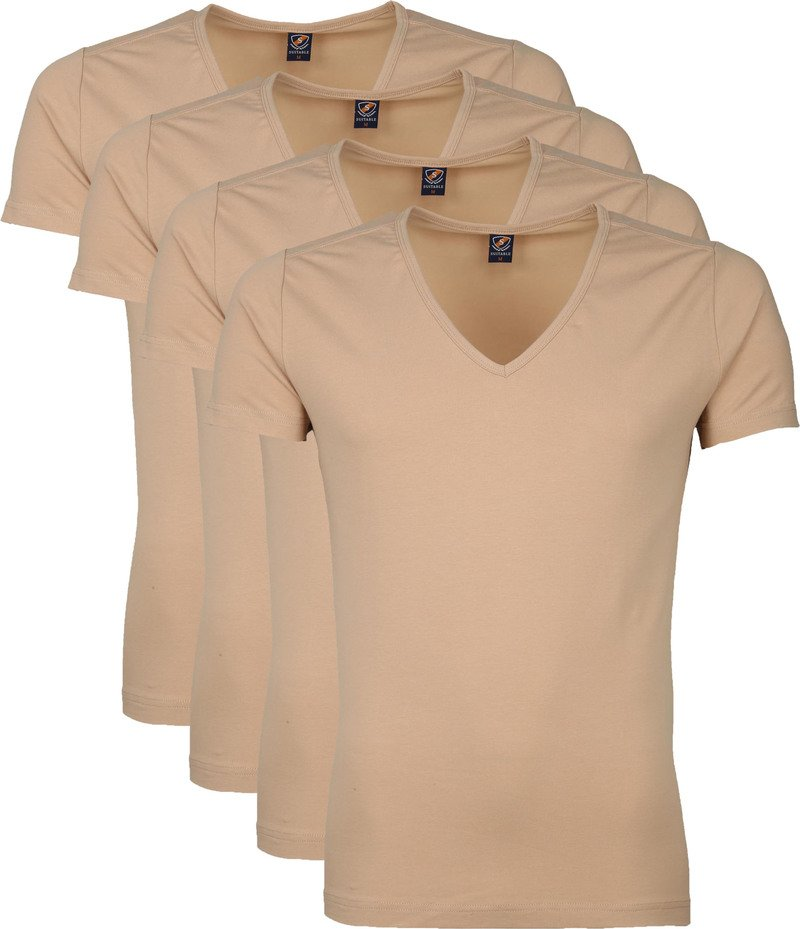 Suitable Diepe V hals 4-Pack T-Shirt Beige