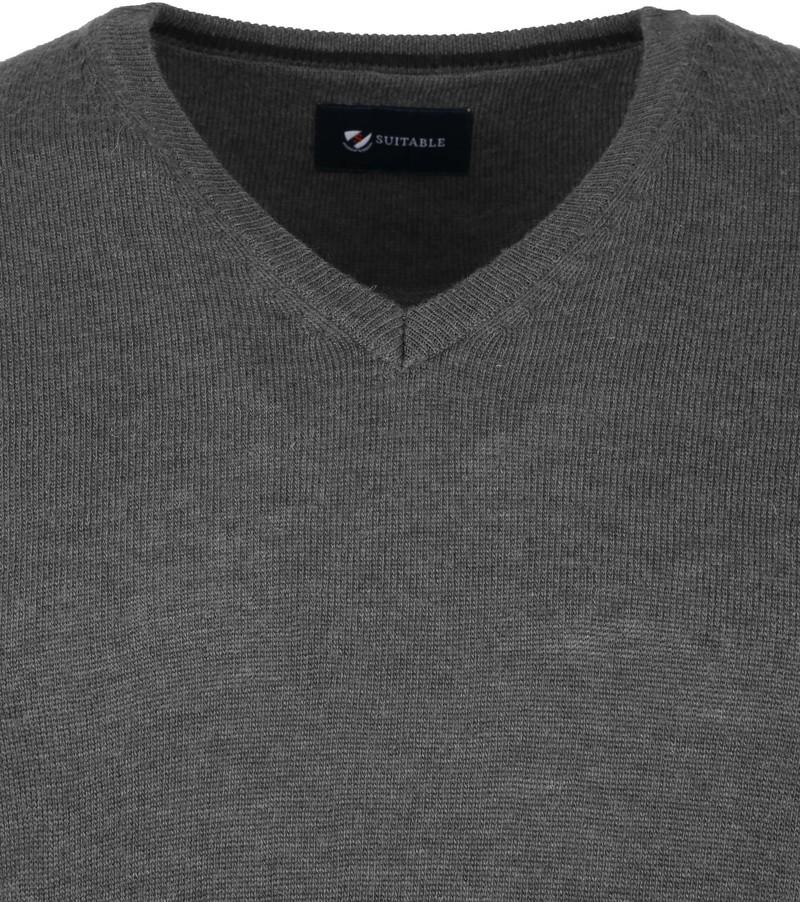 Suitable Fijn Lamswol 12 garen Pullover V-Hals Antraciet