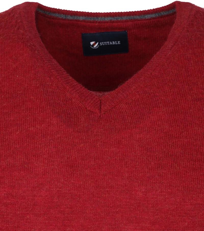 Suitable Fijn Lamswol 12 garen Pullover V-Hals Rood