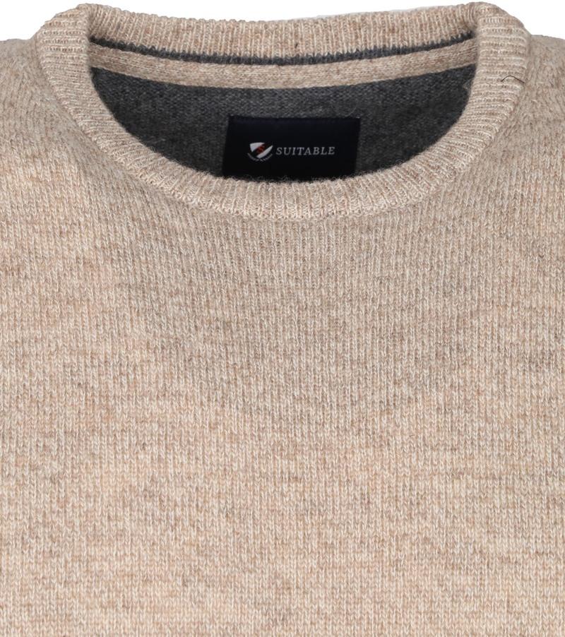 Suitable Fijn Lamswol 9 garen Pullover O-Hals Beige
