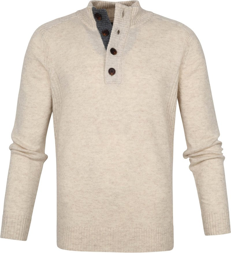 Suitable Fijn Lamswol 9g Mocker Pullover Beige