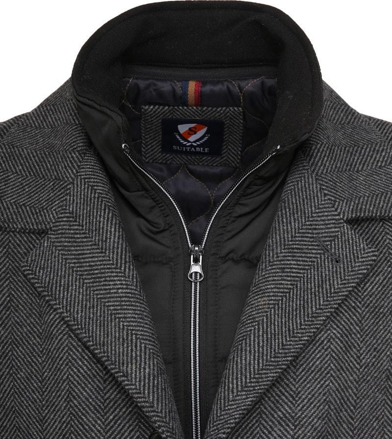 Suitable Geke Coat Herringbone Antraciet foto 1