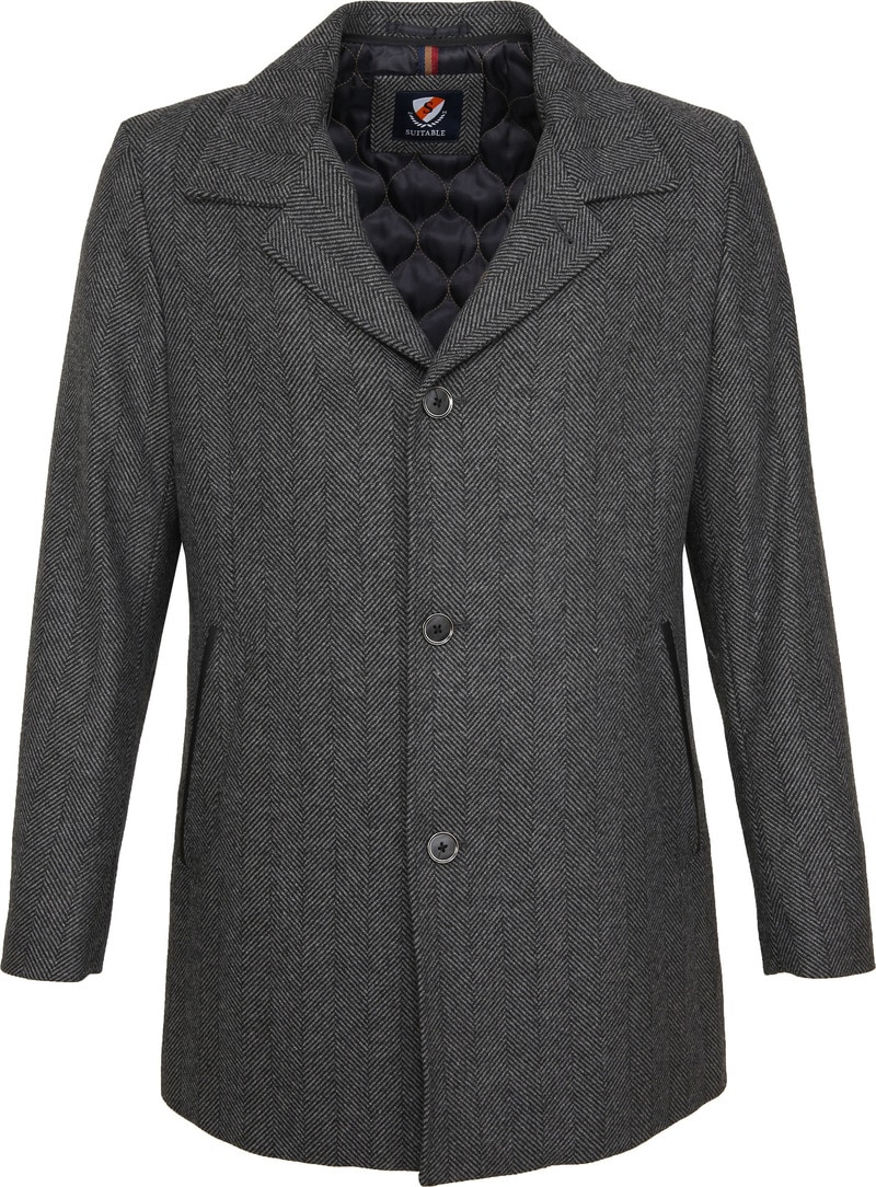 Suitable Geke Coat Herringbone Antraciet foto 5
