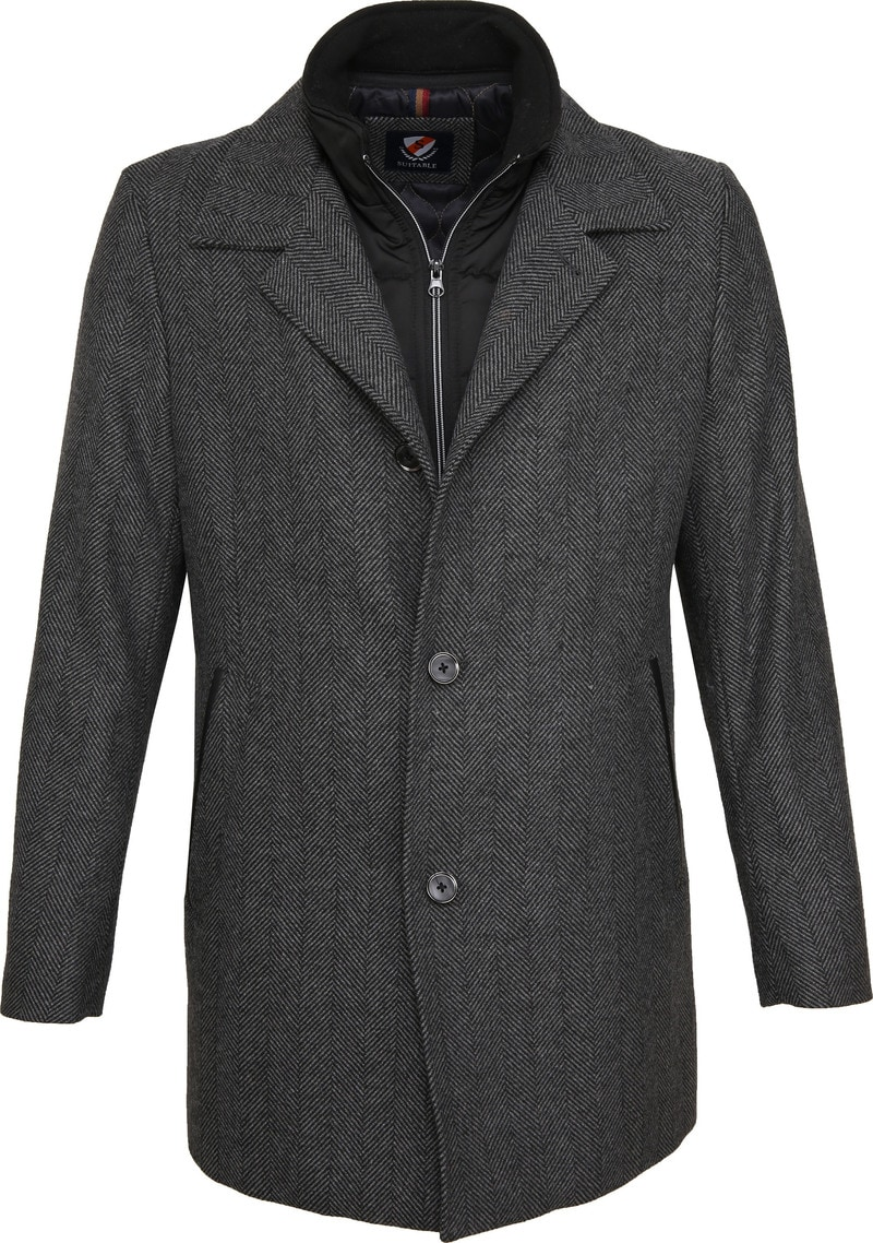 Suitable Geke Coat Herringbone Dark Grey photo 0