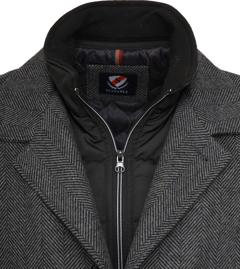 Suitable Geke Coat Herringbone Dark Grey photo 1
