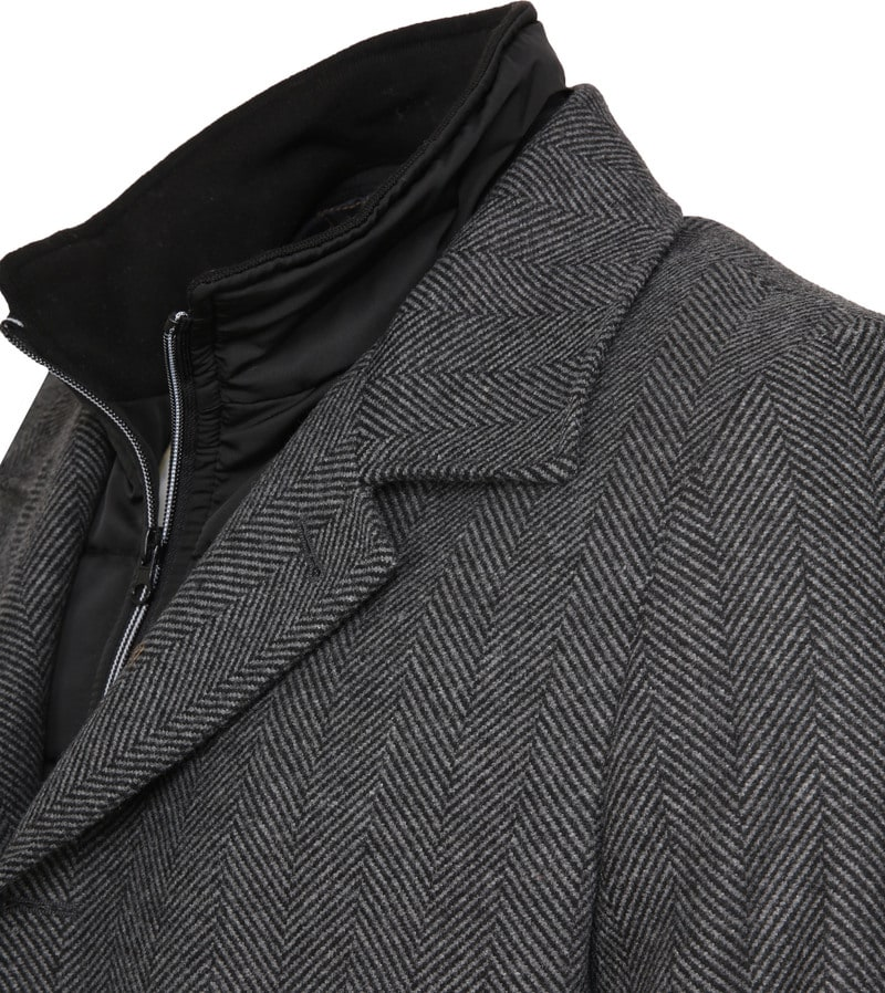 Suitable Geke Coat Herringbone Dark Grey photo 3