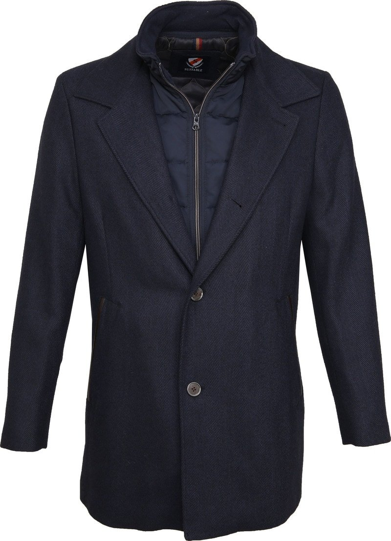 Suitable Geke Coat Herringbone Navy photo 0