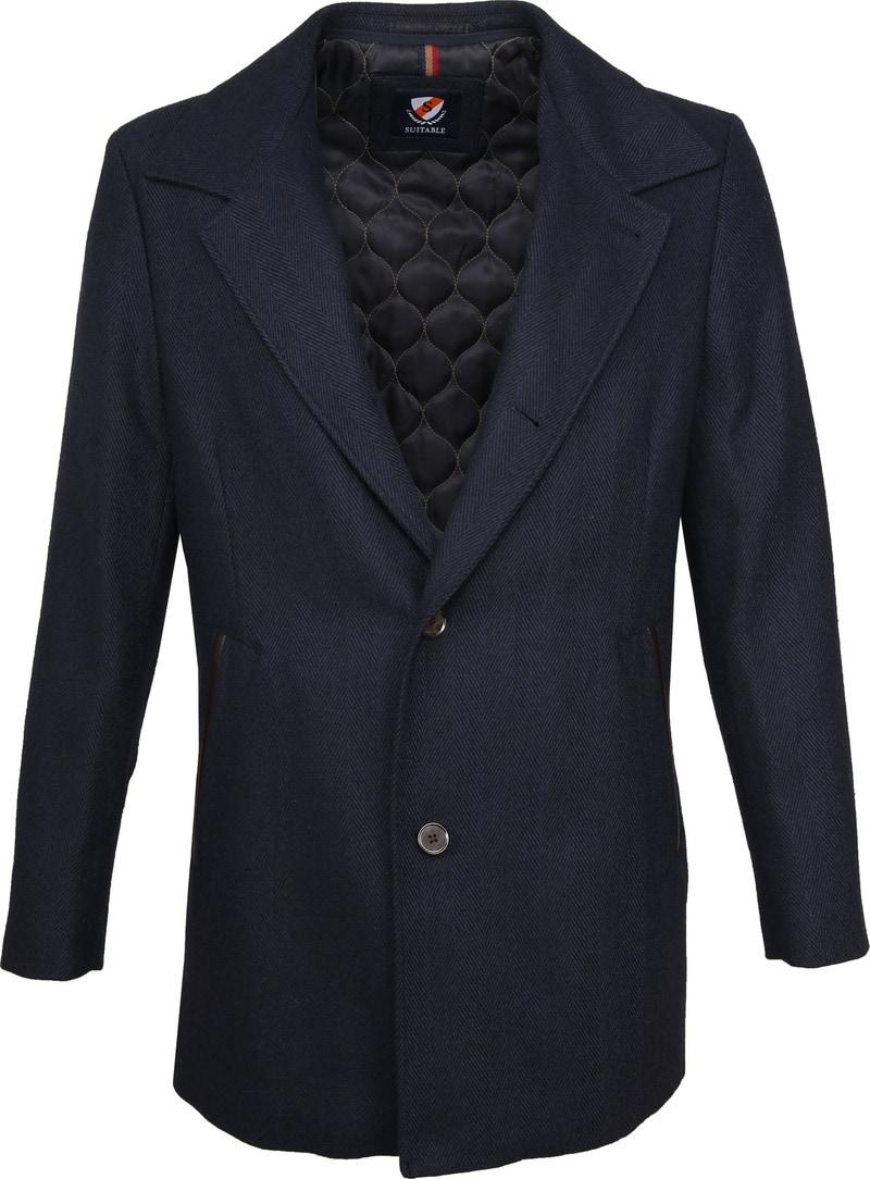 Suitable Geke Coat Herringbone Navy photo 5