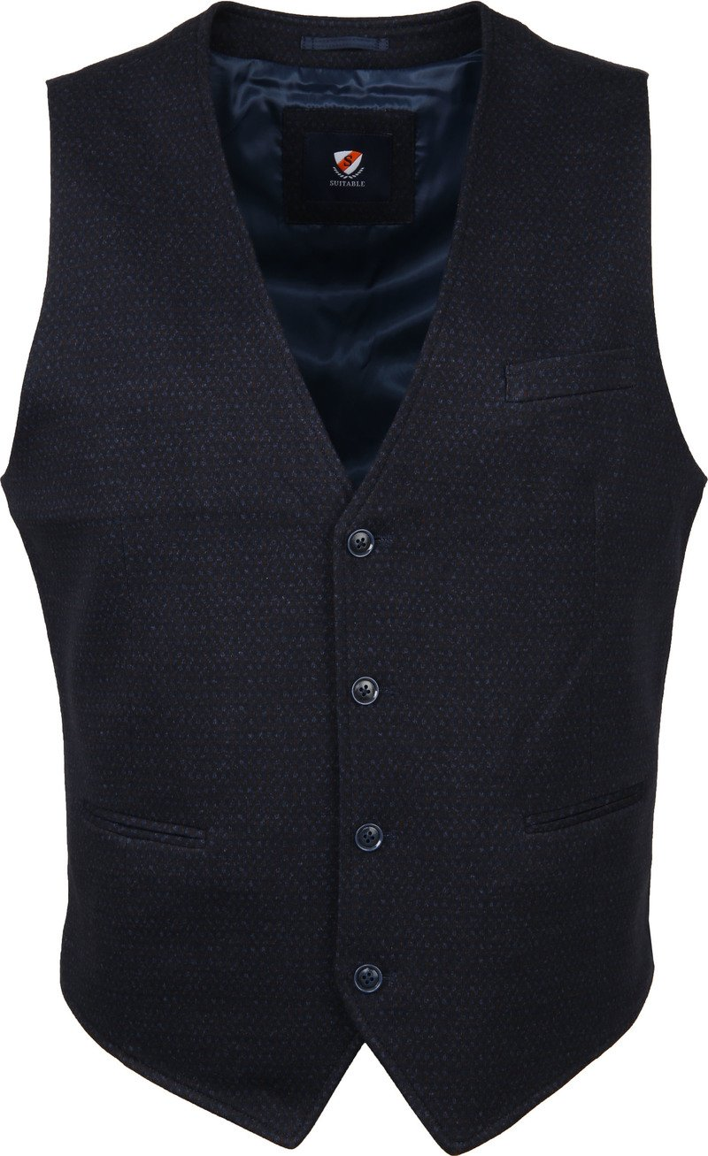 Suitable Gilet Kris Dessin Navy - Donkerblauw maat 48