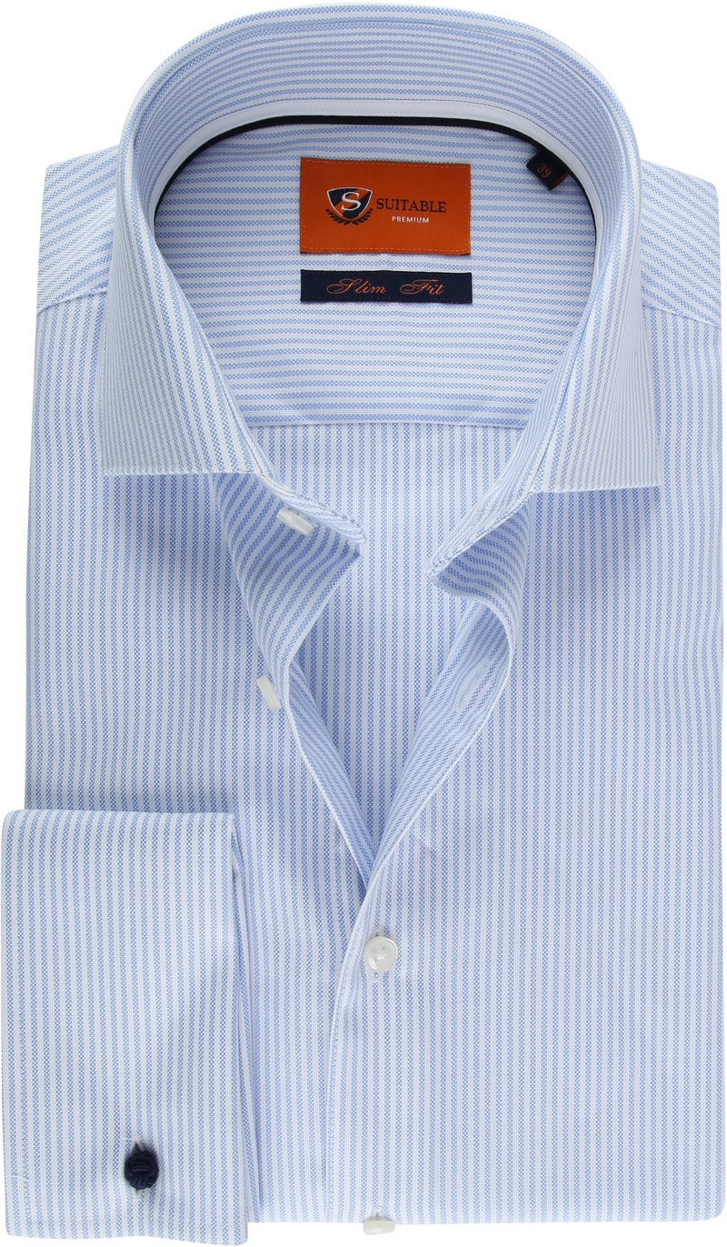 suitable hemd doppel cuff blau