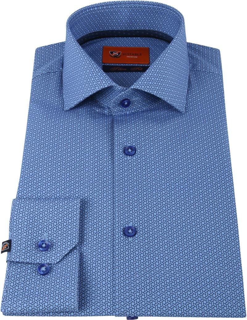 Suitable Hemd SF Geometric Blauw