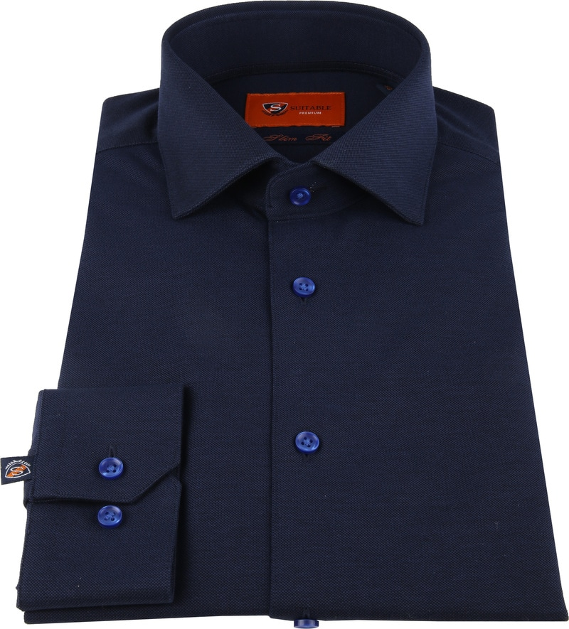 Suitable Jersey Pique Shirt Navy photo 2